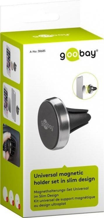 Imagine Suport magnetic auto Slim metalic pentru smartphone (35mm), Goobay 38685-11