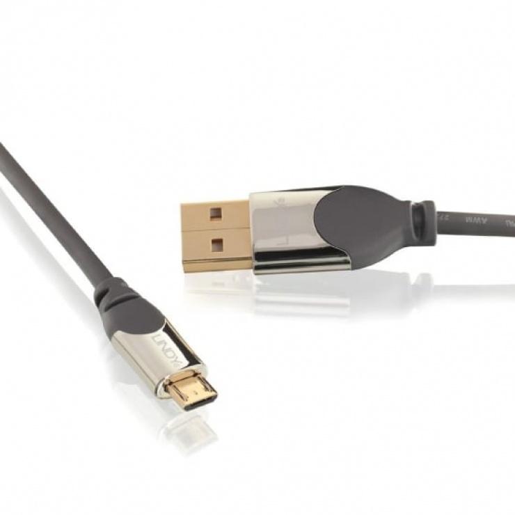 Imagine Cablu USB 2.0 la micro USB-B CROMO 3m T-T, Lindy L41596-1