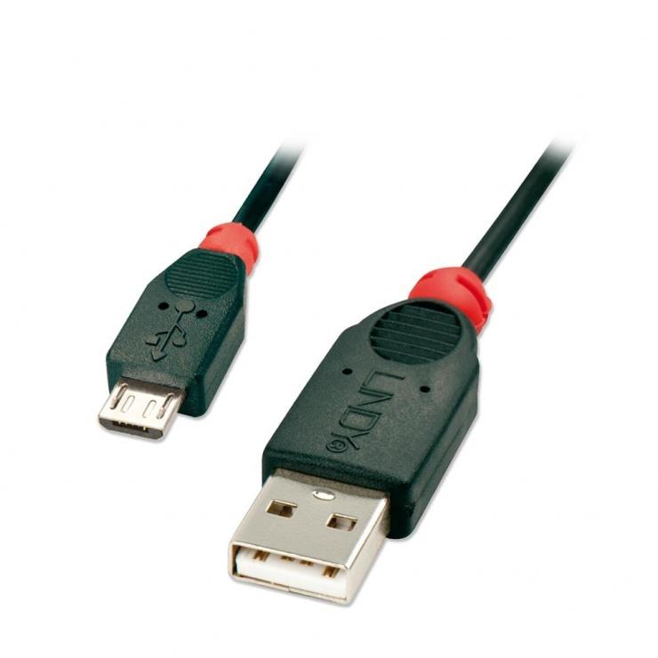 Imagine Cablu micro USB 2.0 la USB-A 3m T-T Negru, Lindy L41804