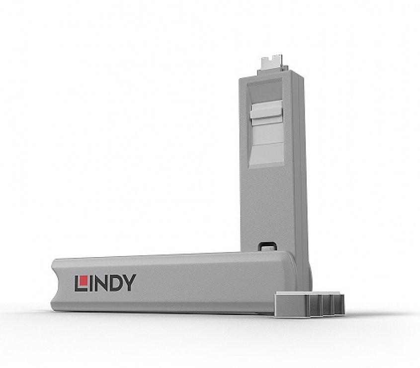 Imagine Set 4 bucati Port Blocker USB tip C/Thunderbolt 3 + cheie Alb, Lindy L40427