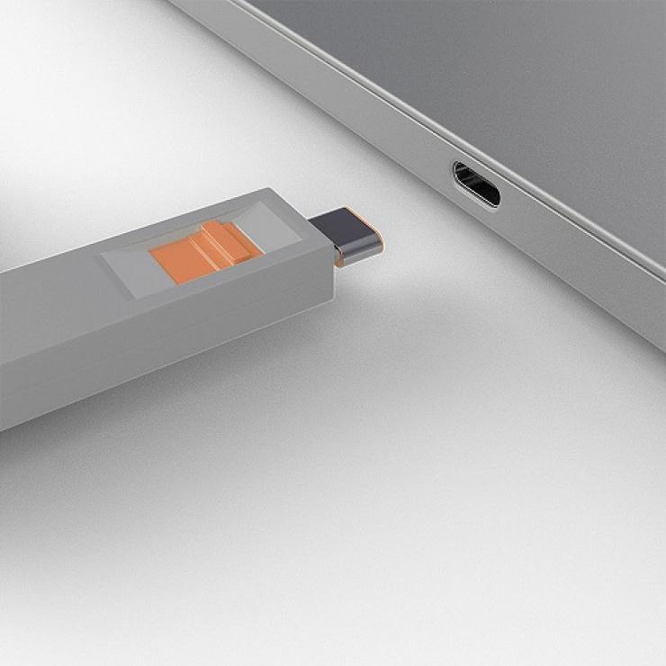 Imagine Set 4 bucati Port Blocker USB tip C/Thunderbolt 3 + cheie Orange, Lindy L40428-2