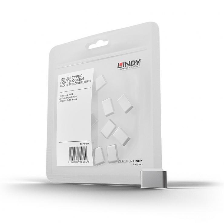 Imagine Set 10 bucati Port Blocker USB-C/Thunderbolt 3 Alb, Lindy L40439