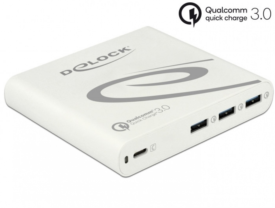 Imagine Incarcator priza la 1 x USB-C PD 85 W + 3 x USB-A Qualcomm Quick Charge 3.0 Alb, Delock 41432