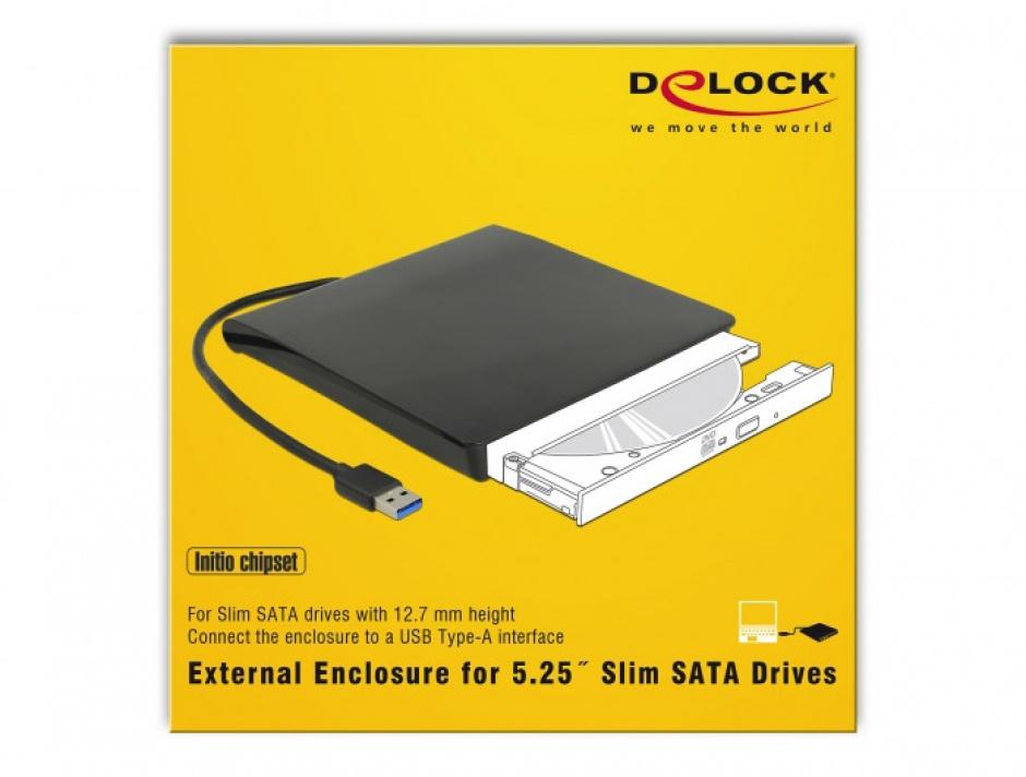 """Imagine Enclosure extern pentru dispozitive 5.25"""" Slim SATA 12.7 mm la USB-A Negru, Delock 42602-5"""