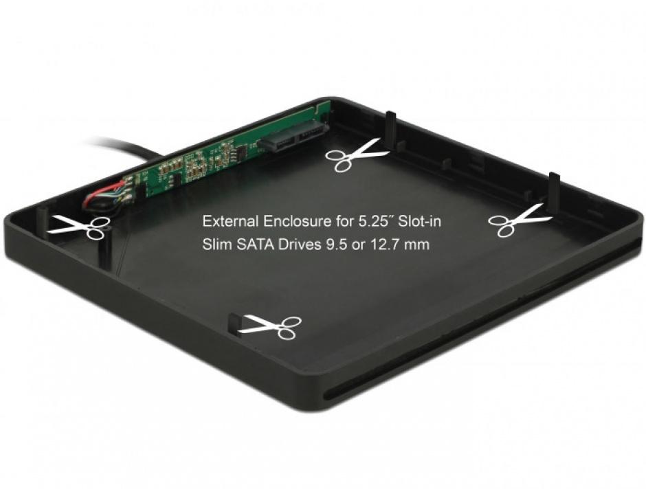 """Imagine Enclosure extern pentru dispozitive 5.25"""" Slot-in Slim SATA 9.5 / 12.7 mm la USB-A Negru, Delock"""
