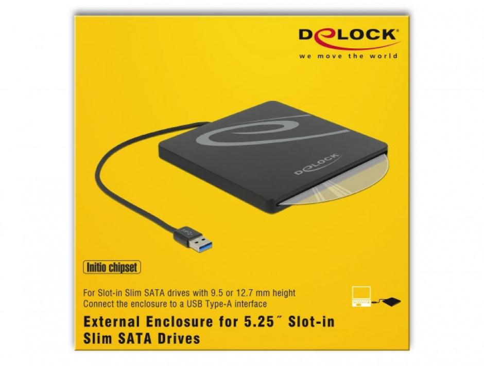 """Imagine Enclosure extern pentru dispozitive 5.25"""" Slot-in Slim SATA 9.5 / 12.7 mm la USB-A Negru, Delock-1"""