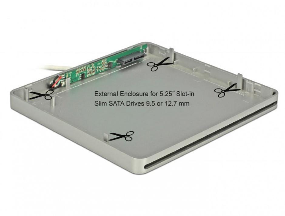 "Imagine Enclosure extern pentru dispozitive 5.25"" Slot-in Slim SATA 9.5 / 12.7 mm la USB-C Silver"