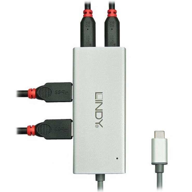 Imagine HUB USB 3.1 tip C la 2 x USB-A + 2 x USB-C, Lindy L43091-1