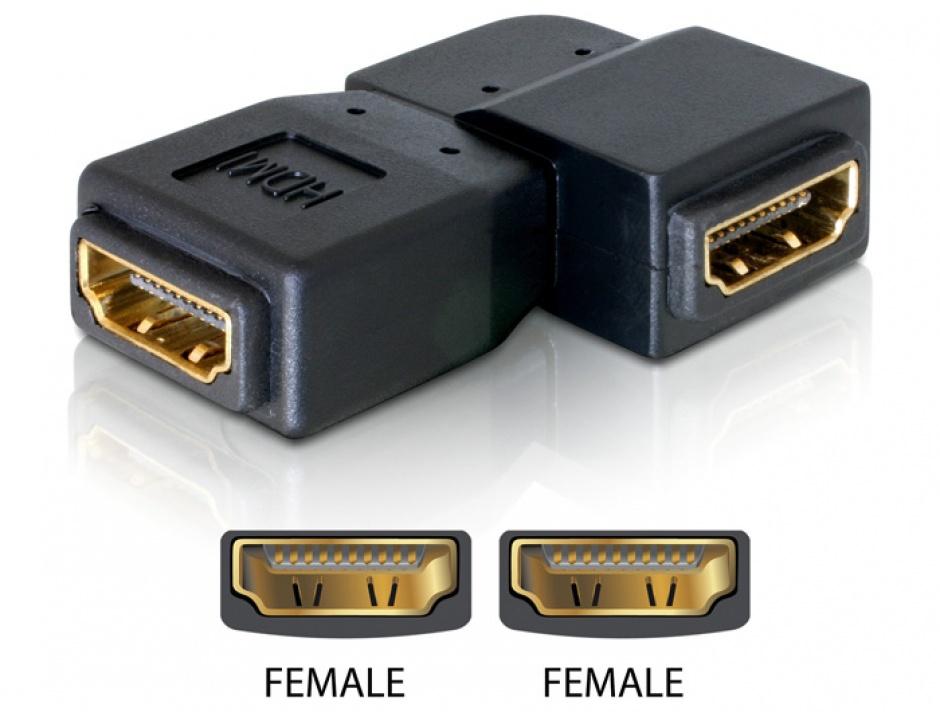 Imagine Adaptor HDMI M-M unghi 90 grade stanga, Delock 65078