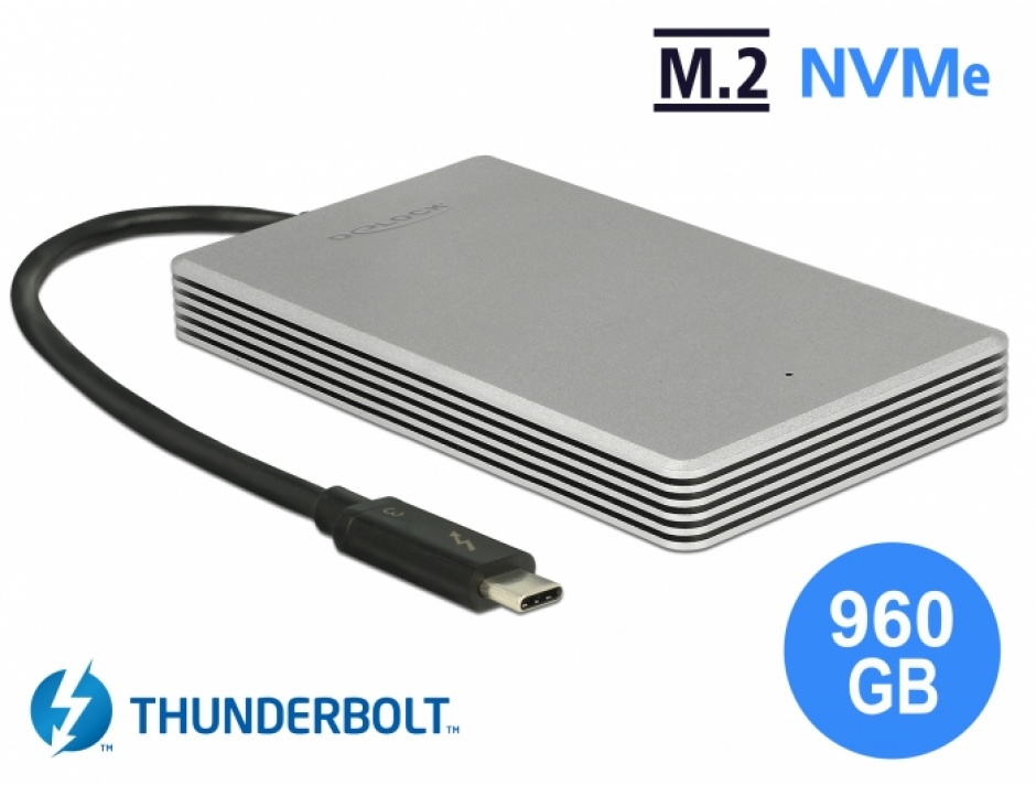 Imagine SSD Thunderbolt 3 extern portabil M.2 PCIe NVMe 960 GB, Delock 54061
