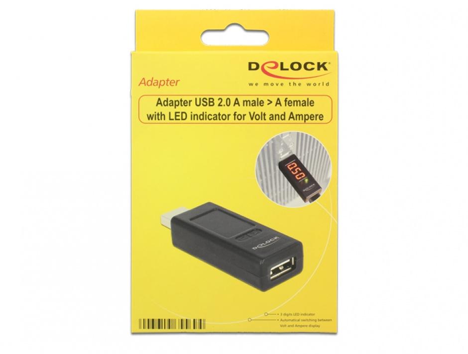 Imagine Adaptor USB 2.0 T-M cu indicator LED pentru voltaj/amperaj, Delock 65569-2
