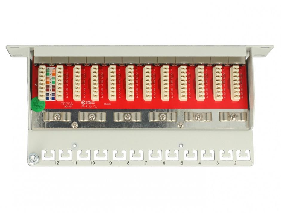 "Imagine Patch Panel 10"" 12 porturi Cat.6A gri, Delock 43308"