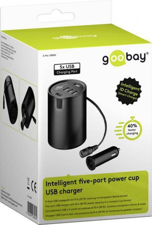 Imagine Incarcator auto cu 5 x USB 10A, Goobay 58846-3