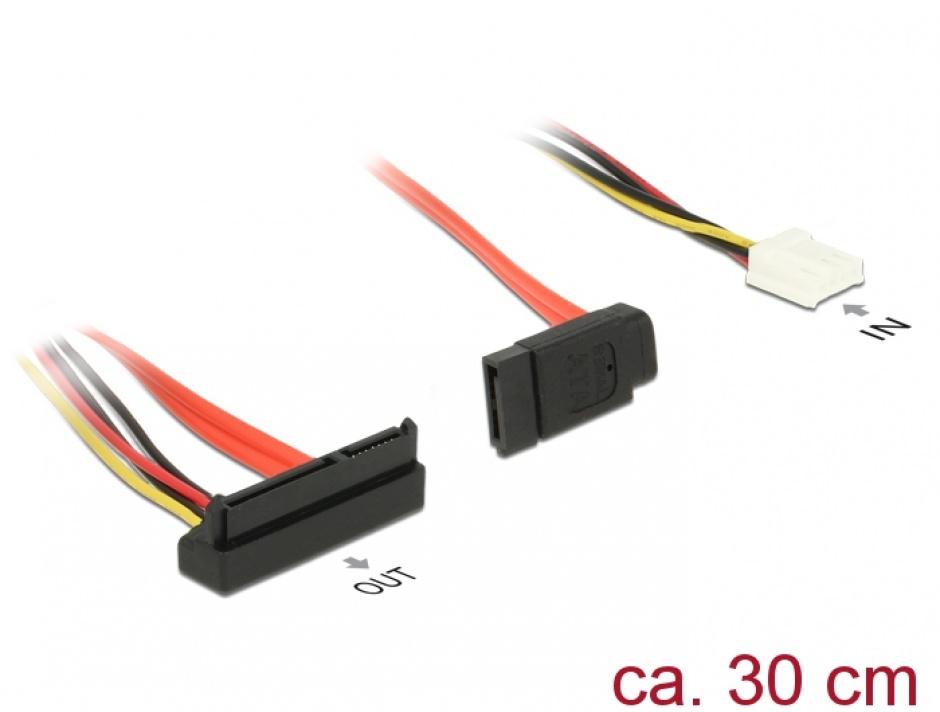 Imagine Cablu de alimentare SATA 7 pini + alimentare Molex la SATA 22 pini unghi jos 30cm, Delock 84854