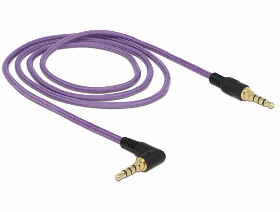 Imagine Cablu stereo jack 3.5mm 4 pini unghi Mov (pentru smartphone cu husa) T-T 1m, Delock 85611