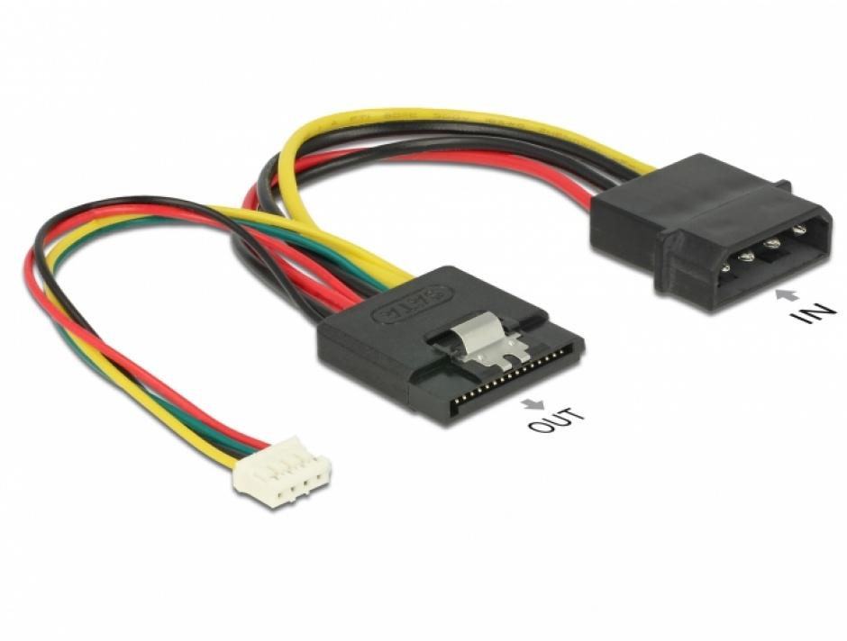 Imagine Cablu de alimentare SATA 15 pini la Molex 4 pini + 4 pini pitch 2.0, Delock 85673