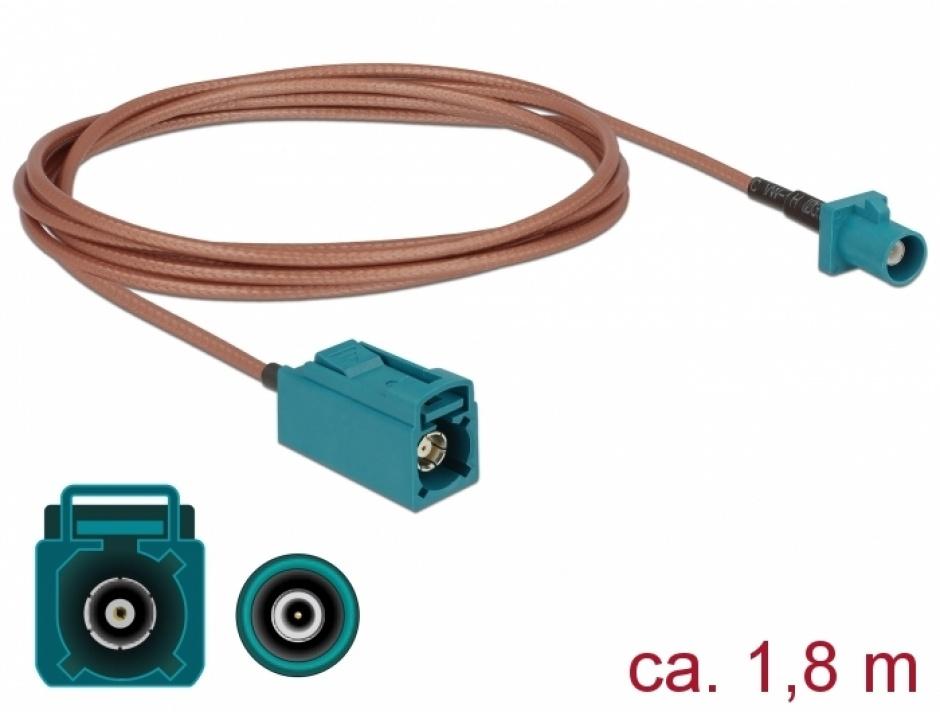Imagine Cablu antena FAKRA Z plug la FAKRA Z jack RG-316 1.8m, Delock 89659
