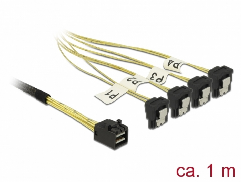 Imagine Cablu Mini SAS HD SFF-8643 la 4 x SATA unghi 1m, Delock 85685