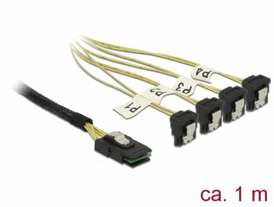 Imagine Cablu Mini SAS SFF-8087 la 4 x SATA unghi 1m, Delock 85687