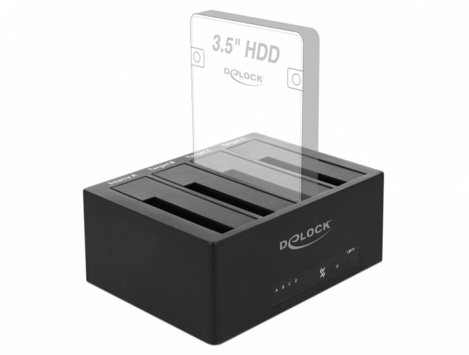 "Imagine Docking Station USB 3.0 pentru 4 x HDD/SSD SATA 2.5""+3.5"" + Functie Clona, Delock 64063-5"
