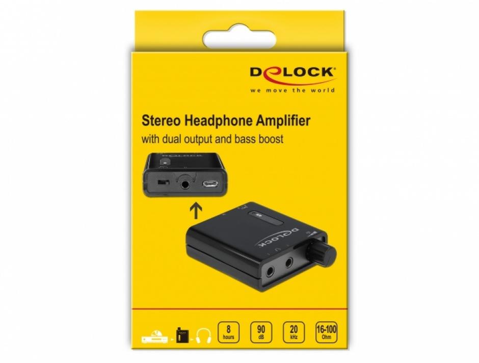 Imagine Amplificator audio portabil cu 2 iesiri si bass boost, Delock 64056-3
