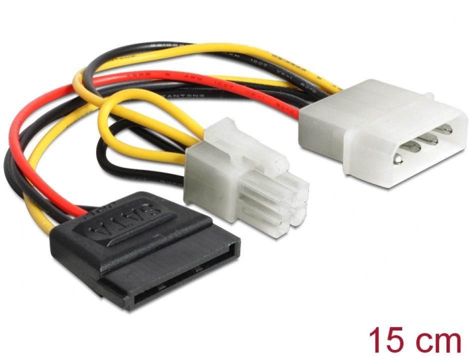 Imagine Cablu de alimentare Molex la SATA 15 pini + P4 15cm, Delock 60127