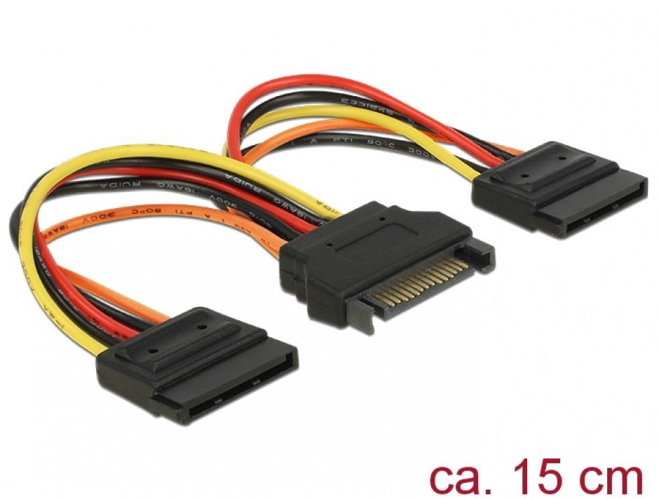 Imagine Cablu de alimentare SATA la 2 x SATA 12V T-M 15cm, Delock 60143