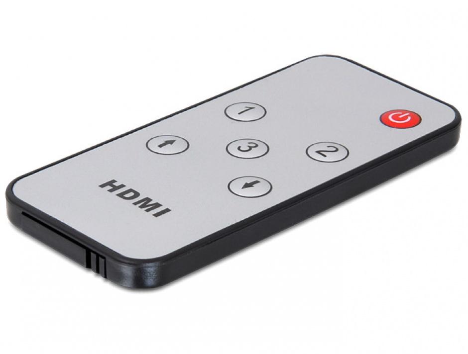 Imagine Switch HDMI Full HD 3 porturi cu telecomanda, Delock 61788-5