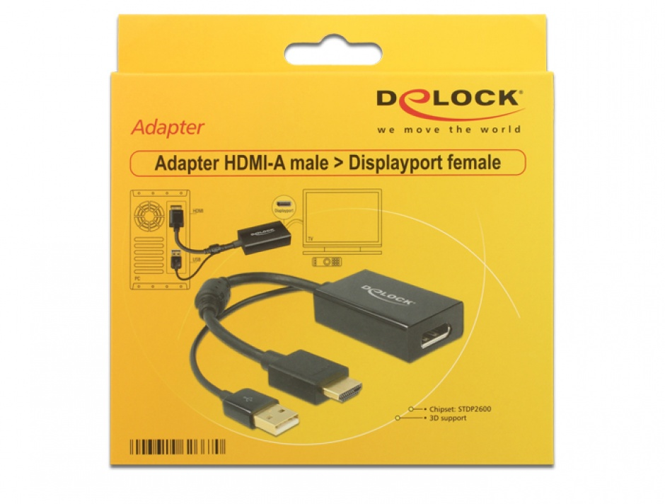 Imagine Adaptor HDMI la Displayport 1.2 4K Negru T-M, Delock 62667-1
