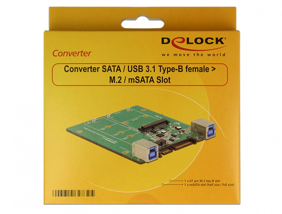 Imagine Convertor SATA / USB 3.1-B la M.2 / mSATA, Delock 62732-2
