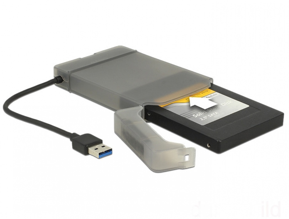 "Imagine Adaptor USB 3.0 la SATA III pentru HDD 2.5"" cu carcasa protectie 15cm, Delock 62742-5"
