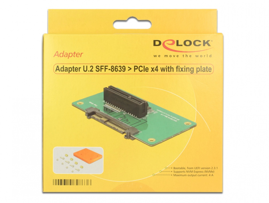 Imagine Adaptor U.2 SFF-8639 la PCIe x4 cu fixare, Delock 62863-5