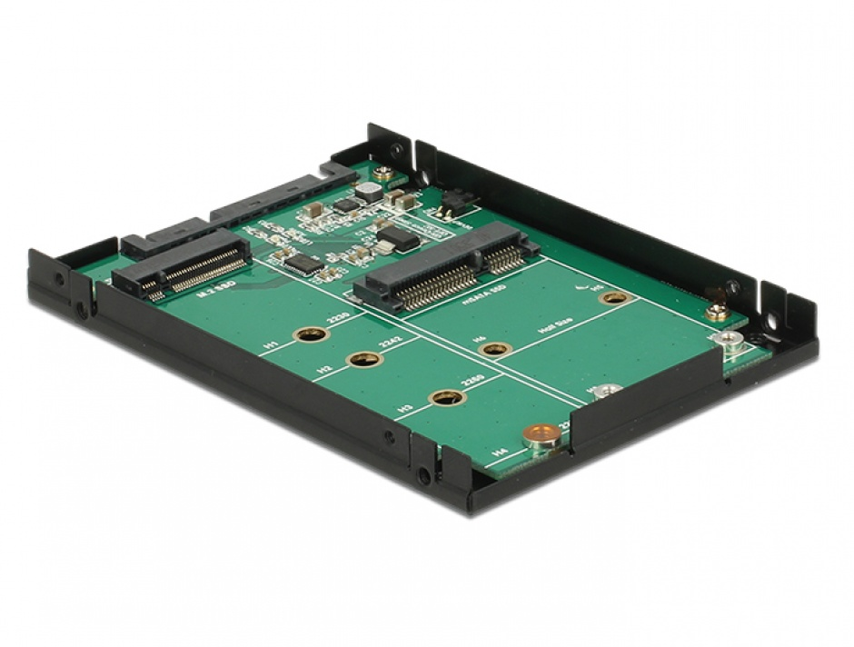 "Imagine Convertor 2.5"" SATA 22 pini la 1 x M.2 key B + 1 x mSATA 9.5mm, Delock 62866-1"