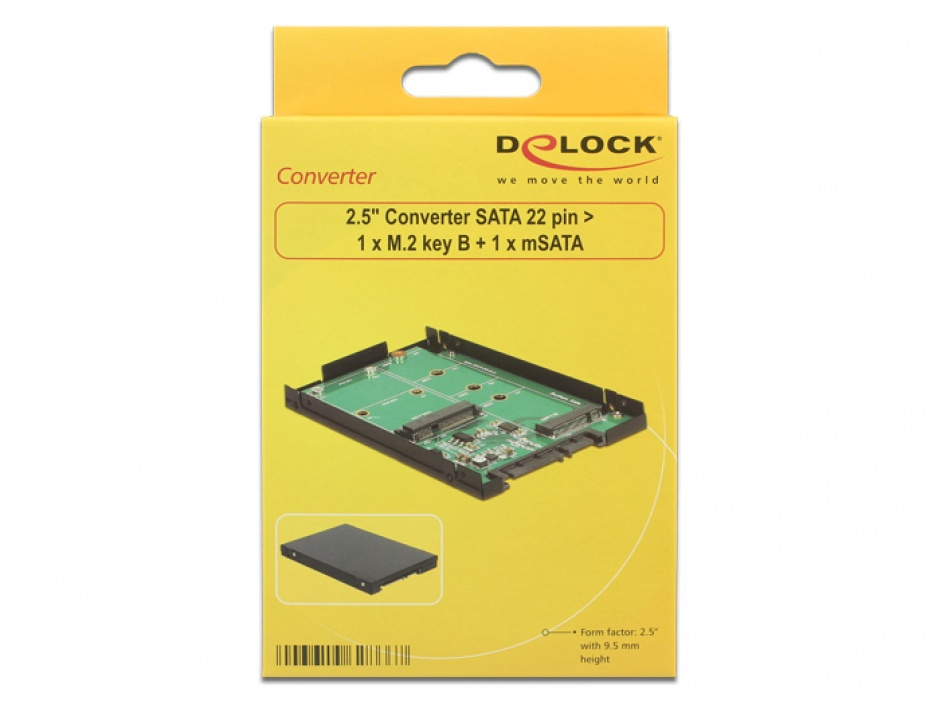 "Imagine Convertor 2.5"" SATA 22 pini la 1 x M.2 key B + 1 x mSATA 9.5mm, Delock 62866-5"