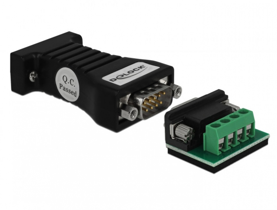 Imagine Convertor 1 x Serial RS-232 DB9 la 1 x Serial RS-485 cu protectie EDS 600 W si temperatura extinsa, Delock 62919