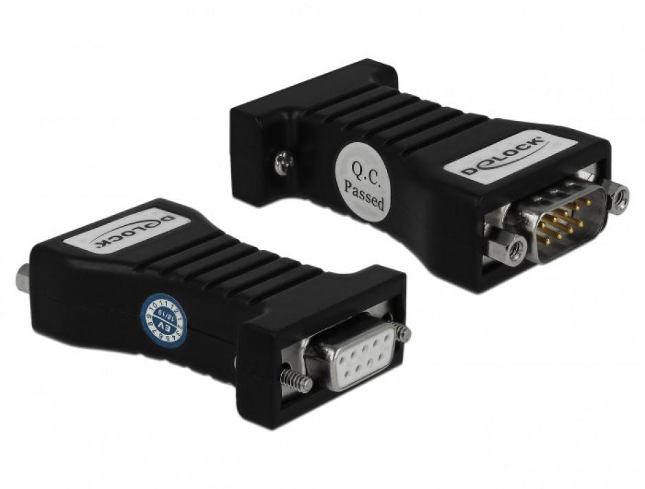 Imagine Convertor 1 x Serial RS-232 DB9 la 1 x Serial RS-485 cu protectie EDS 600 W si temperatura extinsa