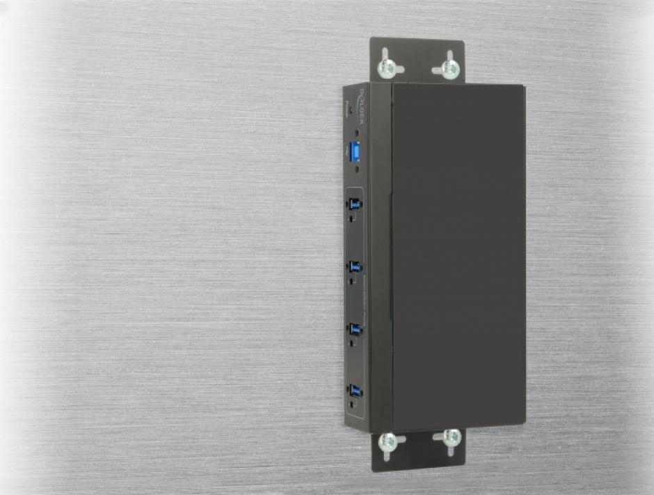 Imagine HUB extern industrial cu 4 x USB 3.0 tip A, protectie 15 kV ESD, Delock 63309