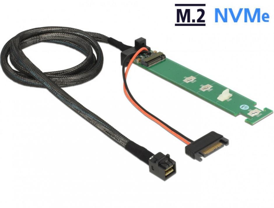 Imagine Convertor SFF-8643 la 1 x M.2 NVMe Key M + cablu 1m, Delock 63342