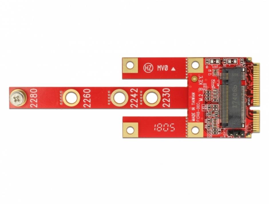 Imagine Convertor Mini PCIe la M.2 Key B slot + Micro SIM slot, Delock 63384-2