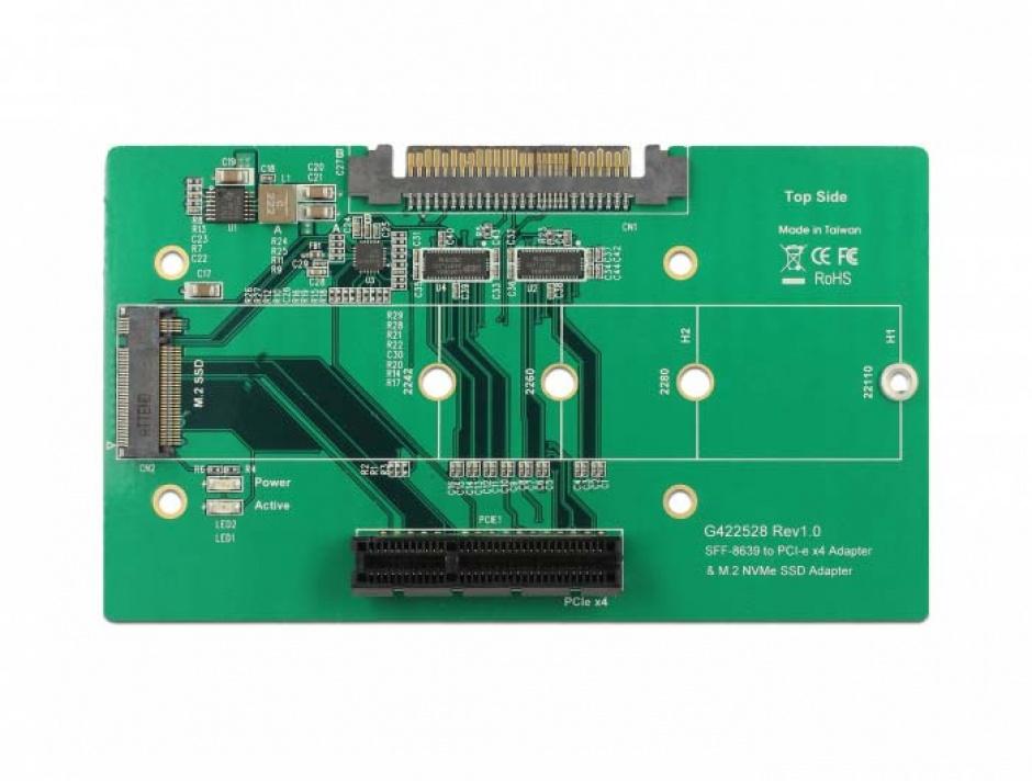 Imagine Adaptor U.2 SFF-8639 la PCIe/M.2 Key M slot, Delock 63951-2