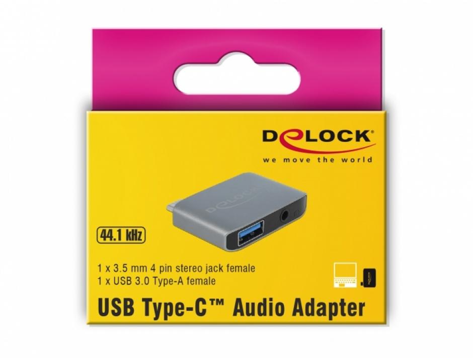 Imagine Adaptor audio USB-C la jack stereo 3.5mm + USB-A T-M, Delock 63965-3