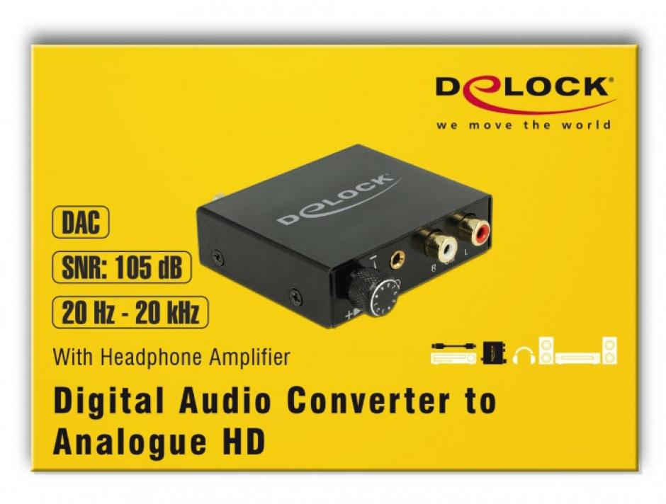 Imagine Convertor Digital Audio S/PDIF la analog RCA HD cu Headphone Amplifier, Delock 63972-4