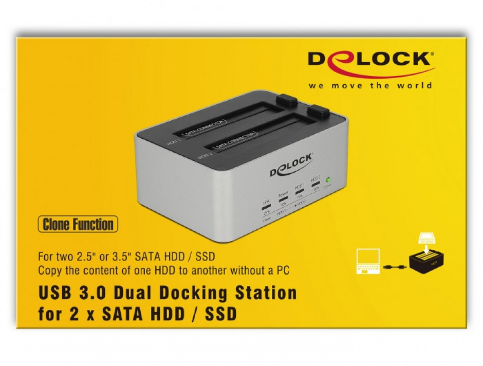 Imagine Dual Docking Station 2 x SATA HDD / SSD la USB 3.0 functie de Clona carcasa metalica, Delock 63991-7