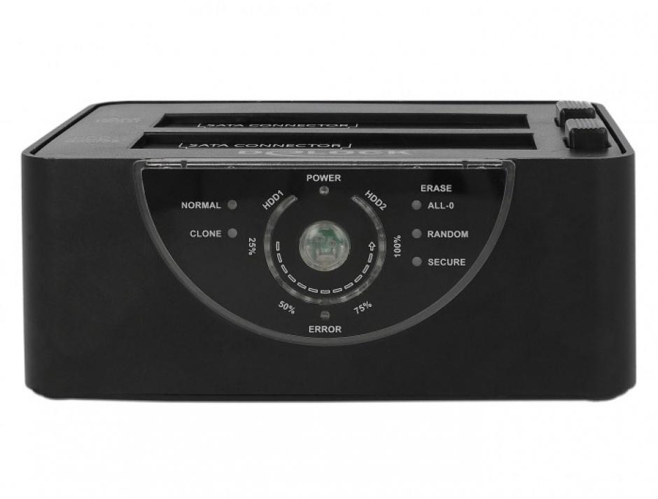 Imagine Docking Station Dual USB 3.0 pentru 2 x SATA HDD/SSD functie de Clona/Erase metalic, Delock 63992-4