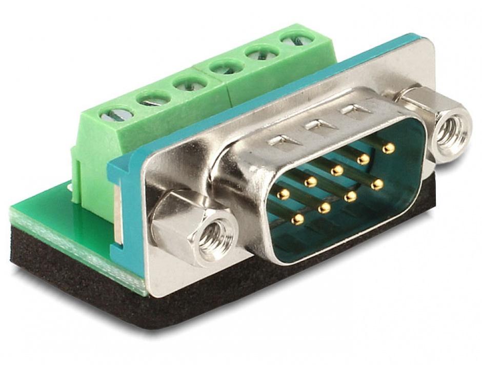 Imagine Adaptor Sub-D 9 pini tata la Terminal block 6 pini, Delock 65499