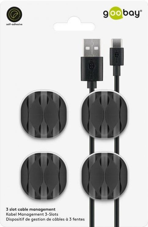 Imagine Set 4 buc ghidaj de cablu (3 slot)  pentru birou Negru, Goobay 70398-6