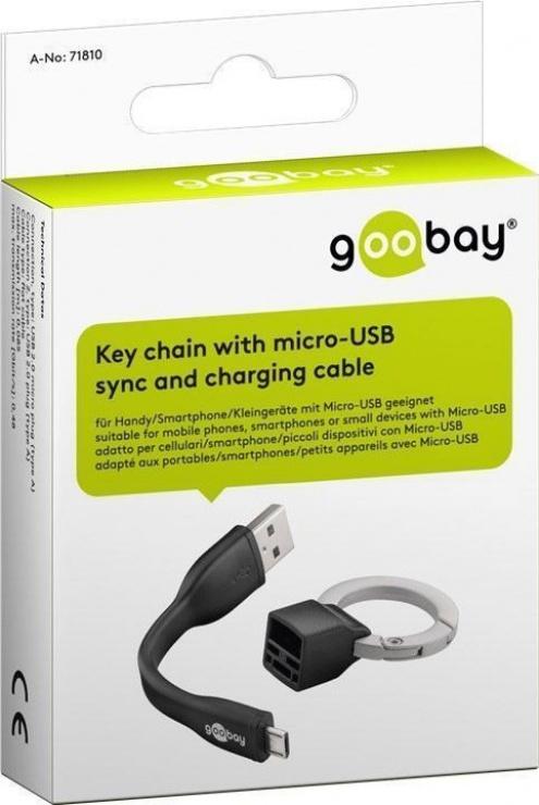 Imagine Breloc cablu date si incarcare micro USB 0.085m, Goobay 71810-6