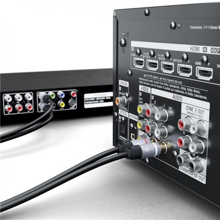 Imagine Cablu audio 2 x RCA la 2 x RCA CCS T-T 1.5m, Goobay 77337-3