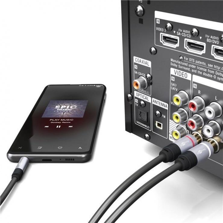 Imagine Cablu audio jack 3.5mm la 2 x RCA CCS T-T 5m, Goobay 79066-3