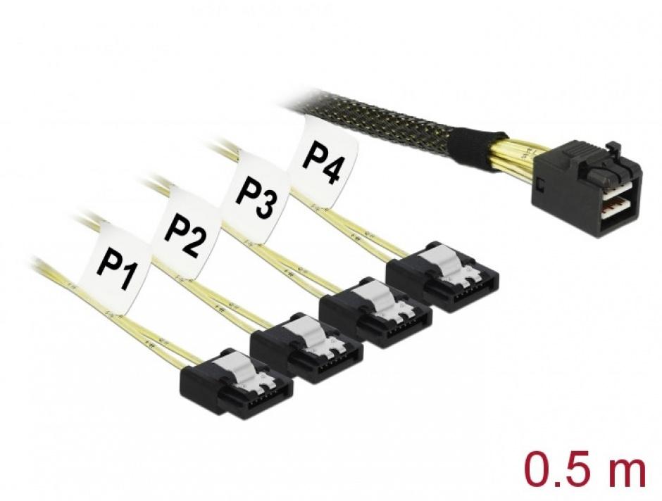 Imagine Cablu Mini SAS HD SFF-8643 > 4 x SATA 7 Pin 0.5 m, Delock 83392